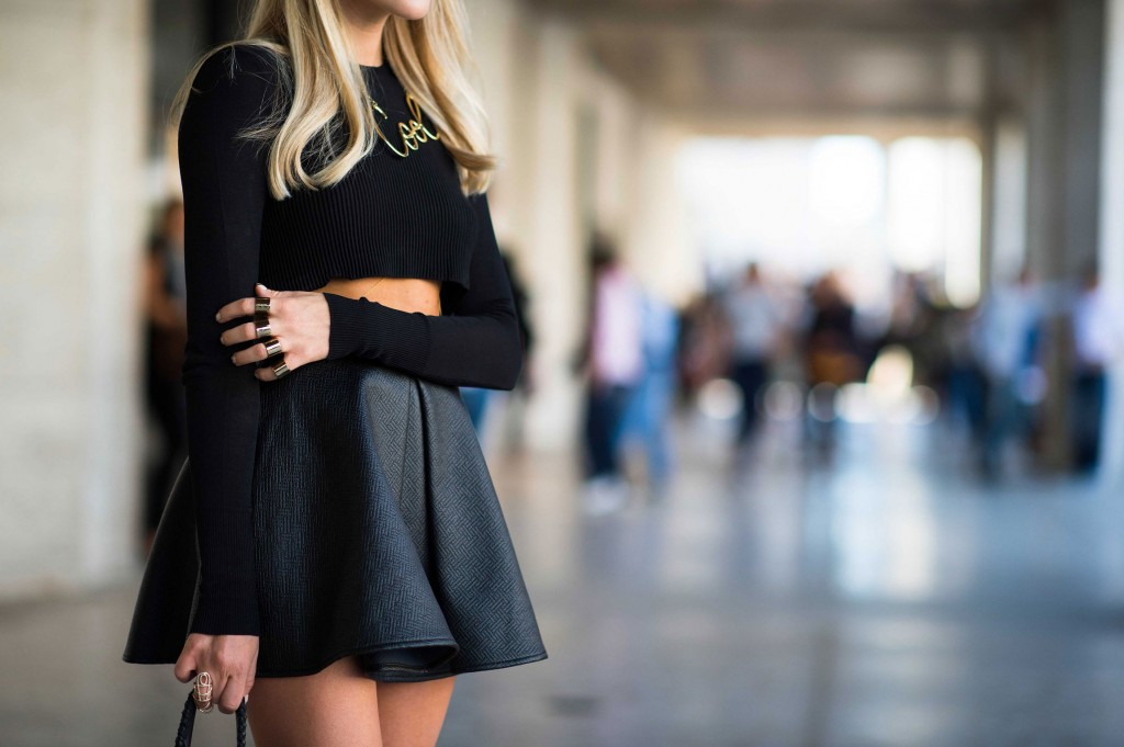 new-york-fashion-week-spring-2014-black-crop-sweater-leather-flare-skirt-rings